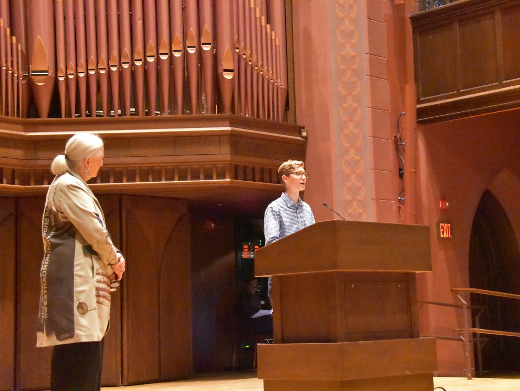 COE fellow Isaac Klimasmith '20 was invited by Tempest Williams to read a poem by Mary Oliver.