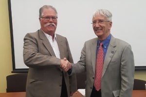 Barry Chernoff and Gary Yohe, at Yohe's retirement celebration earlier this month.